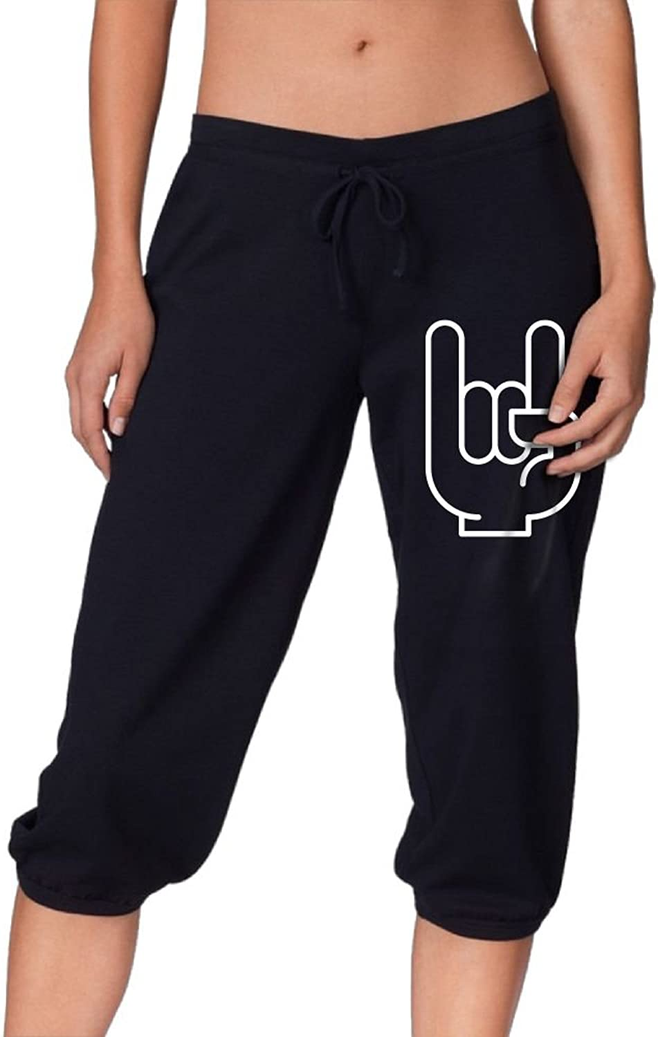 Women Drawstring Capri Pants Cropped Rock Sport Sweatpants