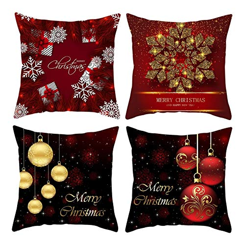 Rubyia Fundas Cojines Sillas, Pack de 4 Throw Pillow Case, Poliester 40 x 40 cm ( Bolas de Copos de Nieve, Negro Rojo )