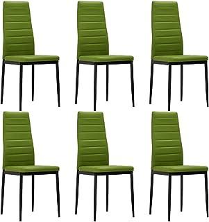 Festnight Sillas de Comedor Sillas de Cocina Sillas Salon 6 Unidades Cuero Sintético Verde Lima 41 x 51 x 98 cm