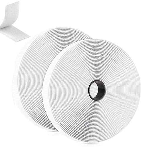 GUBOOM Belcro Adhesivo Fuerte, 8m Autoadhesivo Cara Cintas Adhesivas de Tela Reutilizable Tiras Hook y Loop Bandas para mosquitera Ventana Oficina Doméstica Bricolaje, Blanco 2 Rollos
