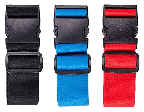 Karteo® Kofferband schwarz | Koffergurt | Reisegurt für Koffer und Taschen | Gepäckgurte | Gurt aus 5 cm geflochtenem Polyester | bis 155 cm Länge | Travel Accessor Luggage Strap