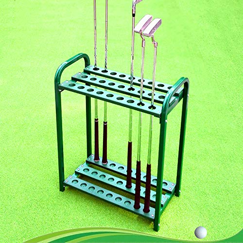 Organizadores de Palos de Golf Club Organizadores de Palos de Golf de 27 Hoyos, Soporte para Exteriores, Soporte de Almacenamiento de Metal para Palos de Golf, Verde, para Campo de Práctica de Golf