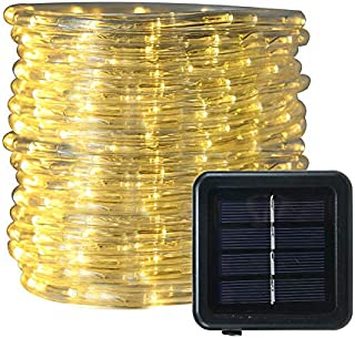 FUNIAO 33ft 240LED Solar Rope Lights LED String Lights Waterproof Solar Powered Decoration Light for Gardens, Patios, Homes, Parties (Warm White)