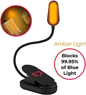 LoveReading Blue Light Blocking Reading Light and Rechargeable Amber Book Led Night Light - Portable Bendable Neck - USB Or Battery Operated - Reduces Eye Strain [Energy Class A+++]