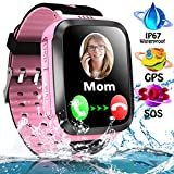Kids Smart Phone Watch for Boys Girls with LBS Tracker Two Way SOS Call IP67 Waterproof Camera Game Voice Chat 1.44'' Touch Screen Flashlight Alarm Clock Cellphone Digital Wrist Watch Birthday