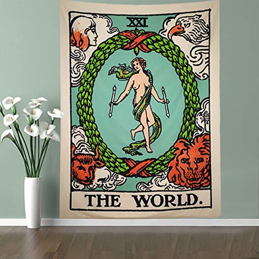 Lahashoker The World Tarot Tapestry Colored World Card Tapestry Bohemian Wall Hanging Tapestry Medieval Divination Tarot Tapestry Horoscopes Hippie Wall Hanging Yoga Mat Meditation Tapestry Decor