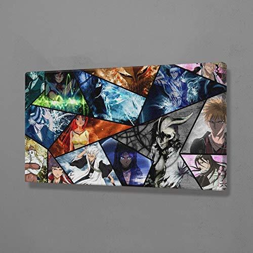 AMtxkj Capitanes del Anime Bleach-Frameless-90x50cm,De pie en la Cima de los Carteles de Moda Hill Mdoern en Blanco y Negro para la Sala de Estar