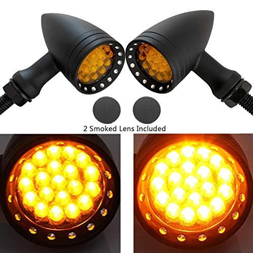 eyourlife light bulbs FATECIM 2X Motorcycle LED Turn Signals Bullet Blinker Heavy Duty Indicator Lights Amber Lens 10mm Vintage Chrome 12V Universal (Black)