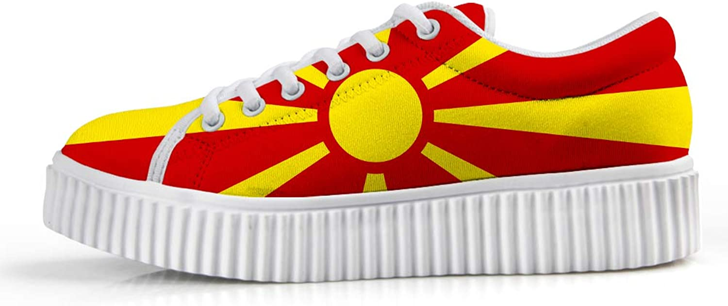 Owaheson Platform Lace up Sneaker Casual Chunky Walking shoes Low Top Women Macedonia Flag
