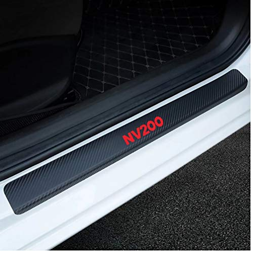 4PCS Door Sill Plate Stickers Auto Scratch Protector Car Guard Decals Carbon Fiber Cover Door Threshold Plate Guard Sticker for Nissan Nv200