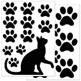 WANDKINGS Fensteraufkleber, Katze mit Katzenpfoten, 2 Bögen in DIN A4, Wiederverwendbare Fenster Aufkleber