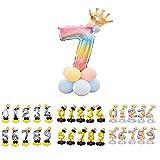 Unishop Cumpleaños Globos Foil Metálico Globo Número Gigante Oro Plata Globos para Fiesta de Cumpleaños Aniversarios Globos Numeros para Cumpleaños Fiesta Decoración (Arco iris 7)