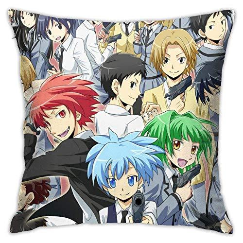 Ahdyr Anime Ass-Assination Classroom Funda de Almohada Cuadrada Throw Pillow Funda de decoración 18 x 18 Pulgadas Decoración de Sala de Estar Sofá Dormitorio Sala de Estar Funda de Almohada de poliés