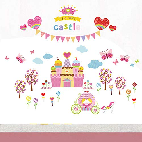 Cartoon Dream Castle Children's Room Background Wall Autocollant mural décoratif