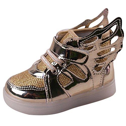Sunching Kleinkind Jungen Mädchen LED Turnschuhe leuchten Schuhe mit Engels Flügeln Gold Größe 22