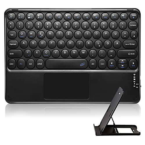 Bluetooth Tastatur Tragbare Wiederaufladbare Tastatur mit Touchpad für Alle iOS Android Windows PC Tablet Mac Smartphone,mit Tablettenständer (Deutsch Layout,Schwarz)