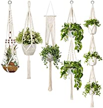 TOOGOO 5-Pack Macrame Plant Hangers, Different Tiers, Handmade Cotton Rope Hanging Planters Set Flower Pots Holder Stand, ...