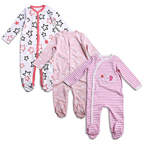 OPAWO Baby Girl Footed Sleeper Pajamas Long Sleeve Cotton Romper Overall 3 Pack 9-12 Months