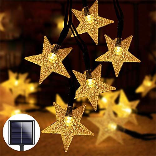 80 Led Star Solar String Light 14M 8 Modes Fairy Light String with Remote Control, 1200mAH Solar Panel for Outdoor, Garden, Indoor Decoration