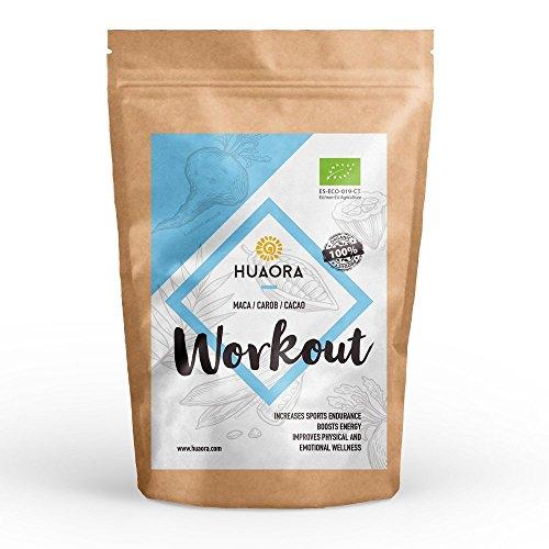 Huaora Workout - Maca, cacao, caroube | Mélanges de Super aliments organiques | Sans produits toxiques, sans produit chimique, sans produits nocifs - Sans gluten 250 gr