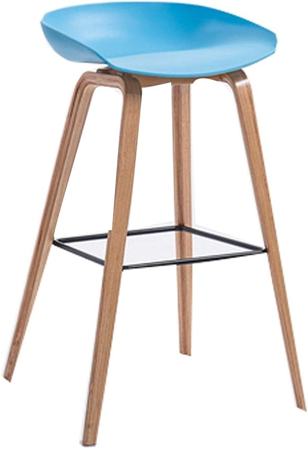 Barstool Modern Nordic bar Chair Solid Wood Home high stools Removable 5 colors 2 Sizes (color   bluee, Size   64cm)