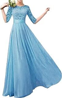 Women's Lace Chiffon A-line Long Maxi Dress Evening Wedding Bridesmaid Dress