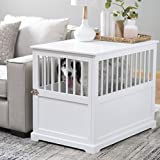 Durable Wood Construction,Well-Ventilated with 1 Door Newport II Pet Large Crate End Table White...