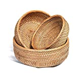 Handmade Rattan Round Fruit Basket Wicker Tabletop Bread Serving Tray Weaving Food Storage Bowls Decorative Wooden Holder Small to Large (3-Size Kit, LMS)