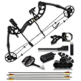 """2021 Compound Bow and Arrow for Adults and Teens – Hunting Bow with Gordon Limbs Made in USA - Fully Adjustable for Women and Youth 30-70 LBS, 23.5-30.5"""" - 320 FPS Speed – 5-Pin Sight, Quiver - Left"""