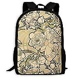 Hdadwy Floral Creme Art Nouveau Flowers Backpack, Mochila Divertida al Aire Libre de Moda Mochila...