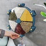 SYWTZ-Peng Dispensador de Cereales Pared Dispensador de Alimentos Giratorio de Pared 6 rejillas, Organizador para Copos de Maíz y Cereales de Muesli Azul, 8.5L (35.5 × 30 × 9.5 cm)