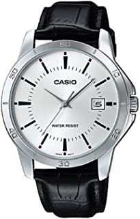 Casio Mtp-V004L-7A Men's Standard Analog Stainless Steel Date Silver Dial Watch, Black Band
