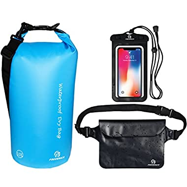 Freegrace Waterproof Dry Bags Set of 3 Dry Bag with 2 Zip Lock Seals & Detachable Shoulder Strap, Waist Pouch & Phone Case - Can Be Submerged Into Water - for Swimming (Sky Blue, 10L)