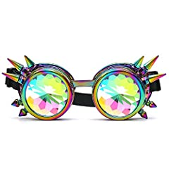 AMhomely Unisex Polarized Steampunk Sunglasses Diffracted Lens Vintage Retro Round Sunglasses Cyber Goggles Kaleidoscope Punk Hippy,Comfort Ideal for Cosplay,Fancy Dress Costumes (Multicolor) #1