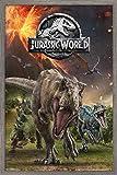 Trends International Jurassic World: Fallen Kingdom - Group Wall Poster, 22.375' x 34', Barnwood Framed Version