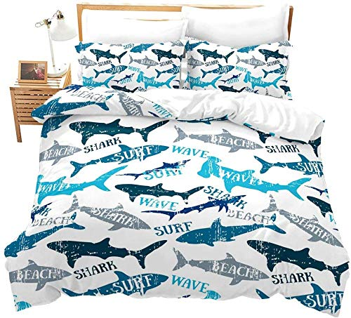 Rmooaceo - Modern Simple Shark Sea Animal White – King Size: 240 x 220 cm, 3D-Bettdecke, Queen-Size-Bettbezug, Bettbezug, Kissenbezug, Bettwäsche-Set, volle Größe + 2 Kissenbezüge 50 x 75 cm