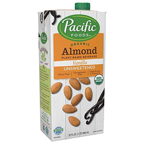 Pacific Foods Organic Almond Non-Dairy Beverage, Unsweetened Vanilla, 32-Ounce, (Pack of 12)