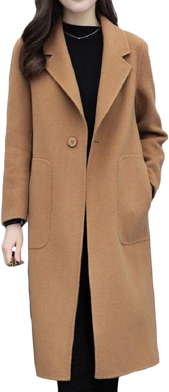 Yingshif Womens Longline Topcoat Notched Collar MidLong Pea Coats