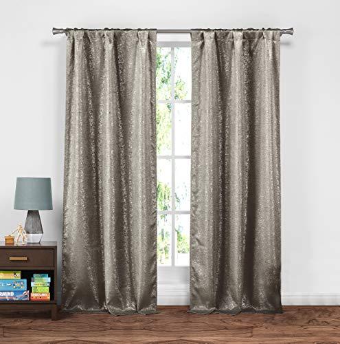kensie Maddie Silver Metallic Textured Blackout Curtains
