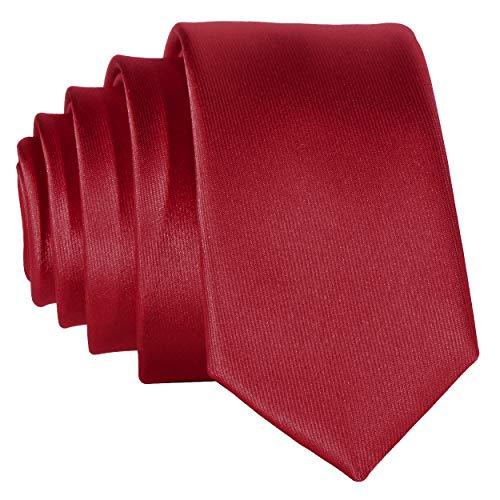 DonDon schmale dunkelrote Krawatte 5 cm
