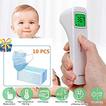 Non Contact High Precision Infrared Digital Thermometer with LCD Display for Adult Baby Children and Home Use Forehead Body Temperature Measurement