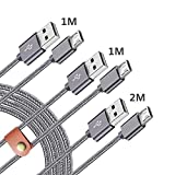 Micro usbケーブル2m+1m+1m,Xperia X performance Z5 Compact Premium SO-04H SO-03H SO-02H SO-01H SOV32,エクスぺリアZ4 SOV31 SO-03G,Z3 SO-02G SO-01G SOL26,Z2 Tablet SO-05F SO-03F 急速充電 マイクロ usb 充電ケーブル 充電コード 高耐久 ナイロン編み 高速データ伝送