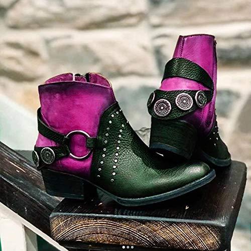 LCCYJ Stivaletti Bassi Donna Stivaletti Zip Fibbia Ankle Boots Autunno Invernali Tacco Basso Stivali Testa Rotonda Abbinamento di Colore Stivali Corti,Viola,41