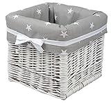 Babymajawelt® Aufbewahrung Korb weiß'STARS', handgeflochten, Utensilio (grau)