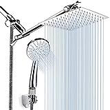 Cabezal de ducha de mano, cabezal de ducha de lluvia de alta presión de 8 '' con brazo de ducha de 11 '', 3 ajustes de cabezales de ducha de mano con soporte y manguera, cabezal de ducha de cascada an