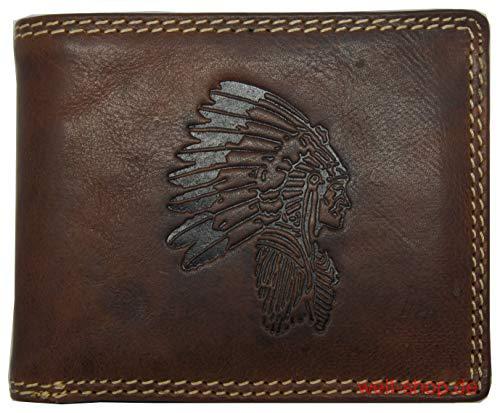 Hochwertige Geldbörse Geldbeutel Portemonnaie Büffel Wild Indianer geprägt RFID Geschenkbeutel