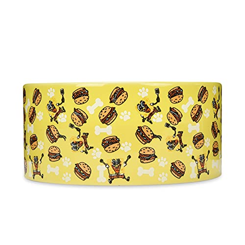 SpongeBob SquarePants Krabby Patty Dog Food Bowl, 6 Inch   SpongeBob Dog Bowls, Ceramic Dog Bowls for Medium Sized Dogs and All Dogs, Food Bowl Holds 3.5 Cups