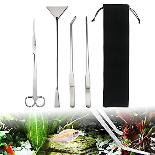 Nizirioo Aquarium Werkzeug für Wasserpflanze, Edelstahl Aquarium Aquascaping Kit, Aquarium Terrarium Tank Kit Zubehör, Pinzette Schere Aquatische Werkzeuge Set Fisch Starter Kits (Silber)