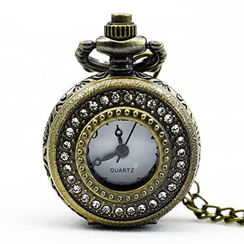BOZNYReloj de Bolsillo PS565 Moda Diseño Vintage Collar con Colgante de Diamantes de imitación de Cuarzo Reloj de Bolsillo de Diamantes