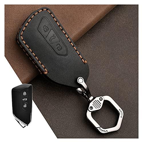 GIS Cubierta DE CUCHE DE Cuero CUERCA Cubierta Ajuste para VW Volkswagen Golf 8 MK8 2020 Skoda Octavia 3 Botones Smart Keyless Control Remoto Casos (Color Name : Black)